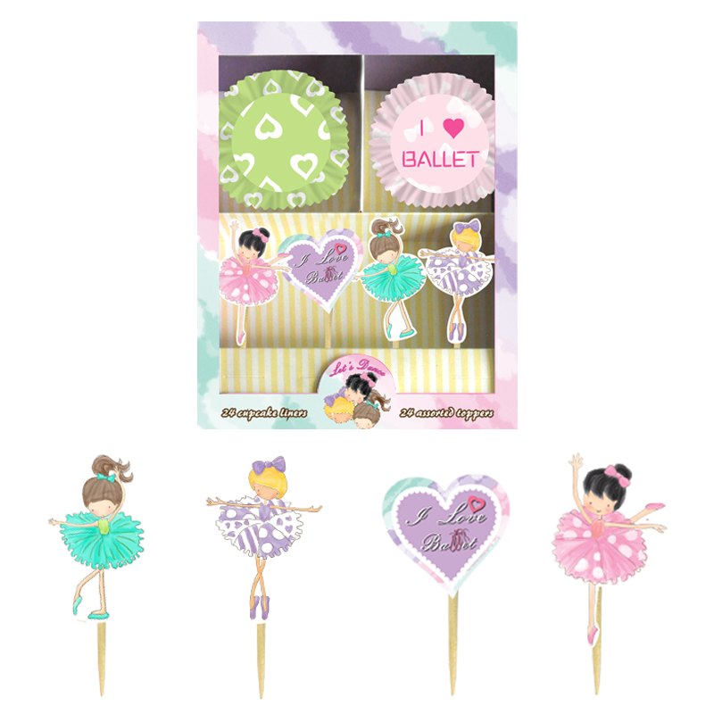 BALLET MUFFIN CUP & PICK SET
